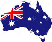 Australia with a Image of the Flag on It.