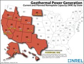 Map of Geothermal Energy used in USA.
