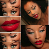 lipstick and eyeliner and eyeshadow