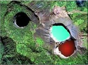 """The red and green lakes are usually considered in Indonesia, """"The Enchanted Lakes."""""""