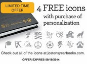Order Online at JostensYearbooks.com and Receive 4 Free Icons with Purchase of Yearbook Personalization