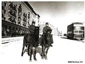 Комендантский патруль на улице Горького в дни обороны Москвы