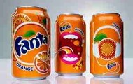 differnt pictures of orange fanta cans