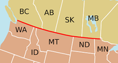Border line of U.S. and Canada