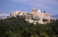 The view of  the Parthenon and cities.