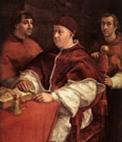 Pope Leo X with Cardinals Giulio de' Medici and Luigi de' Rossi, 1518-1519