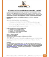 Economic Development/Research Internship Available