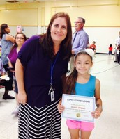 Ms. Teffera and her Super Star Student of the Month