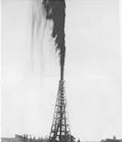 Spindletop oil well in Beaumont, Texas gushing out oil.