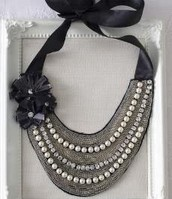 Natasha Embroidered Bib Necklace