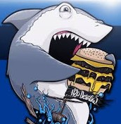 Shark eating a cheeseburger