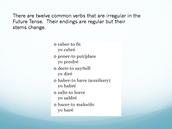 Common Irregular Future Tense Verbs