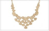 Geneve Lace Bib Necklace in Gold