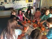 Preparing our pumpkins