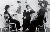 Margaret Sanger consulting a patient in the clinic.