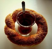 Simit with Turkish Tea