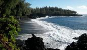 Volcanic Rocks Surrounds Beach Shore