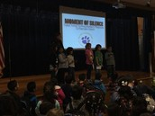 1st grade Panthers from Ms. Davishines's class lead our Moment of Silence at assembly!