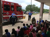Firefighters from Station 3 in Bryan visited our kindergarteners on Monday, May 2.