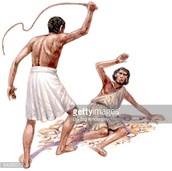 Hier zie je hoe een slaaf word aangepakt