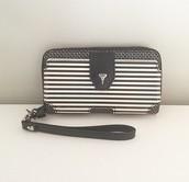 Madison Tech Wallet - Black/Creme Breton Stripe - $40