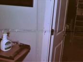 Medium velocity spatter on the door frame