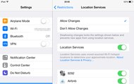 Restrictions > Privacy > Location services