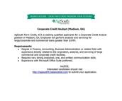Corporate Credit Analyst (Madison, GA)