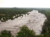Bank bursting river