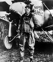 Lindbergh next to his plane