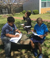 Poetry writing in our courtyard!