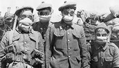 Soldiers wearing masks so they can prevent inhaling the poison