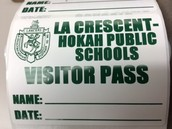 Fill out a Visitor Pass to wear during your visit.  Please remember to sign out in the office when you exit the building.