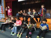 5th graders help kick off the Read a Thon.