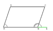Consecutive angles are supplementary (A + D = 180°).