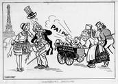Political cartoon making fun the pact