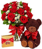 Red Rose Arrangement with Bear and Candy