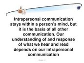 Intrapersonal Relationships