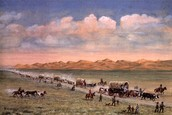 these are people traveling the sand part of the oregon trail