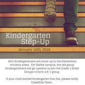 Jan 10: Kindergarten Step Up
