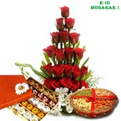 E-id 20 Red Roses Basket with Mix Sweets 500gms and 500 Gms Mix Dry Fruits in Basket
