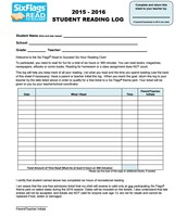 Six Flags Read to Succeed Reading Log English