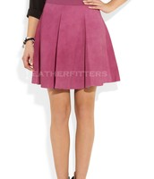 Suede Pleated Leather Skirt for Women
