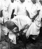 Gandhi picks up salt