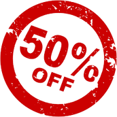 50% discount on all of the items in the store