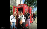 A typical telephone booth
