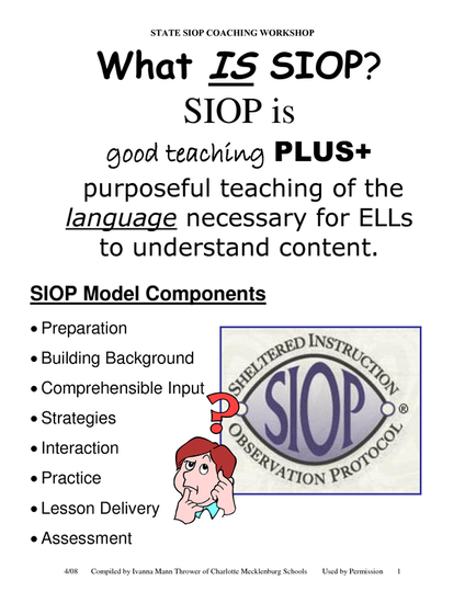 Siop Model Smore Newsletters For Education