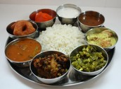 An example of a meal a Hindus might eat with family