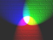 Brighter, clearer picture of red, blue, and green lights combined.