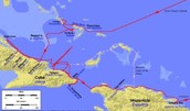 Map of Columbus's route to the Americas